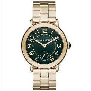 New Marc Jacobs Riley round face gold watch